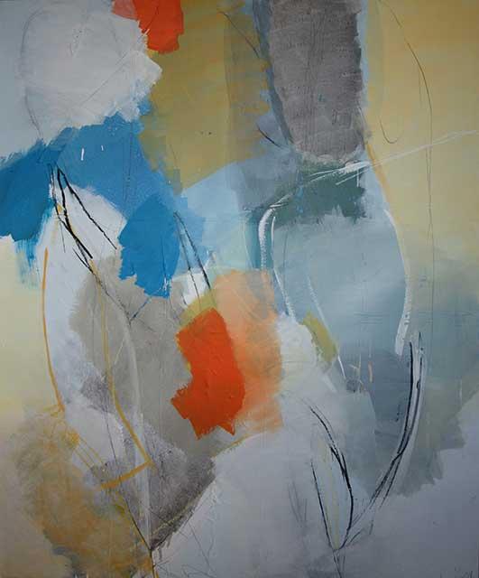 Aufzug, 100 x 120 cm, Acryl auf Leinwand