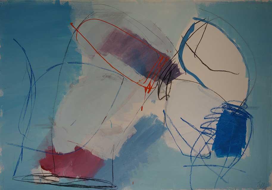 Gewitter 70 x 100 cm, Acryl auf Papier